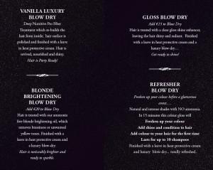 December blowdry menu
